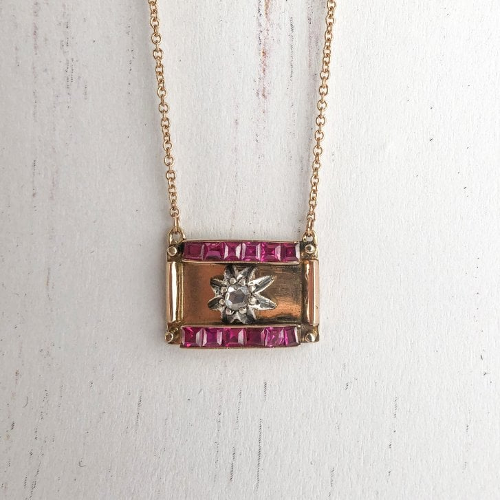 Lila's Art Deco Diamond Star and Ruby Panel Necklace
