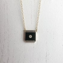 Art Deco Necklace with Onyx Tablet and Diamond