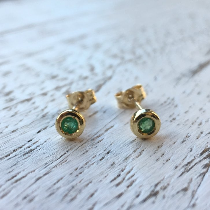 Lila's Bezel Set Emerald Stud Earrings