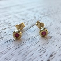 Bezel Set Ruby Stud Earrings