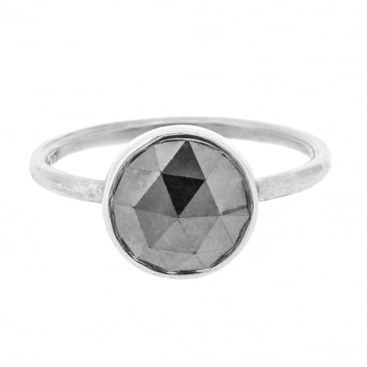 Lila's Black Rose Cut Diamond Solitaire in White Gold