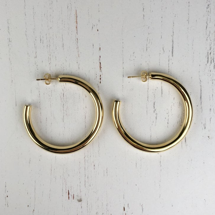 Lila's Chunky Large Gold Plated Silver Hoops