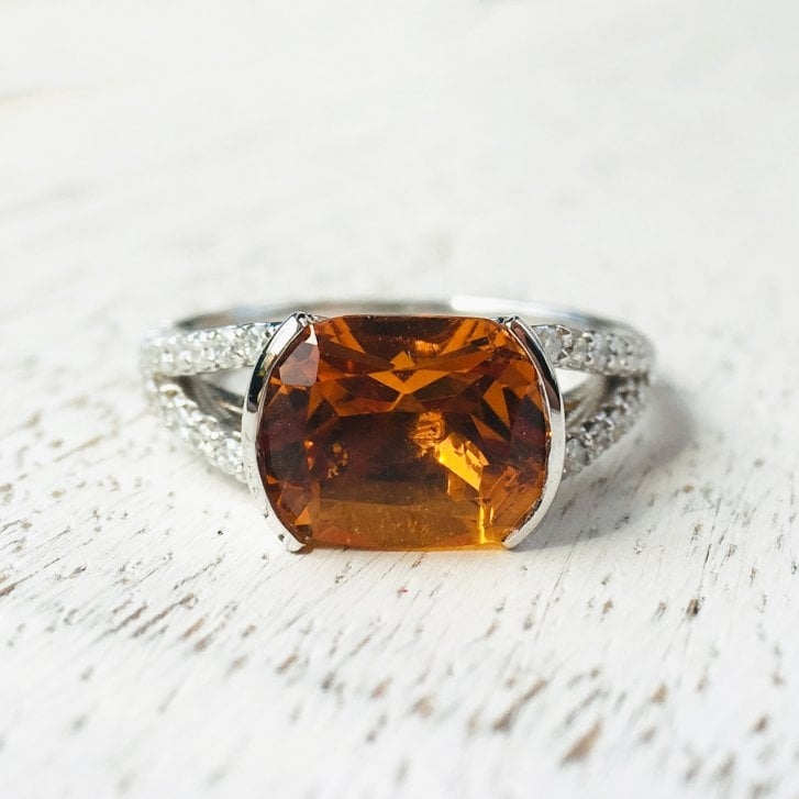 Lila's Citrine and Diamond Split Shoulders Ring