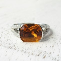Citrine and Diamond Split Shoulders Ring