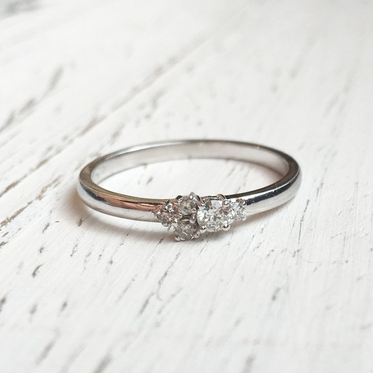 Lila's Confluence Diamond Cluster Ring in White Fairtrade Gold