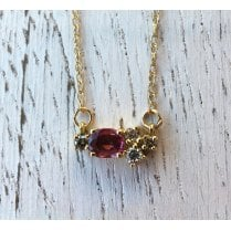 Confluence Ruby and Diamond Cluster Necklace