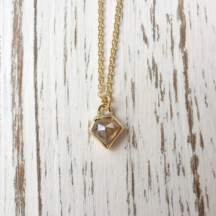Lila's diamond-shaped diamond necklace