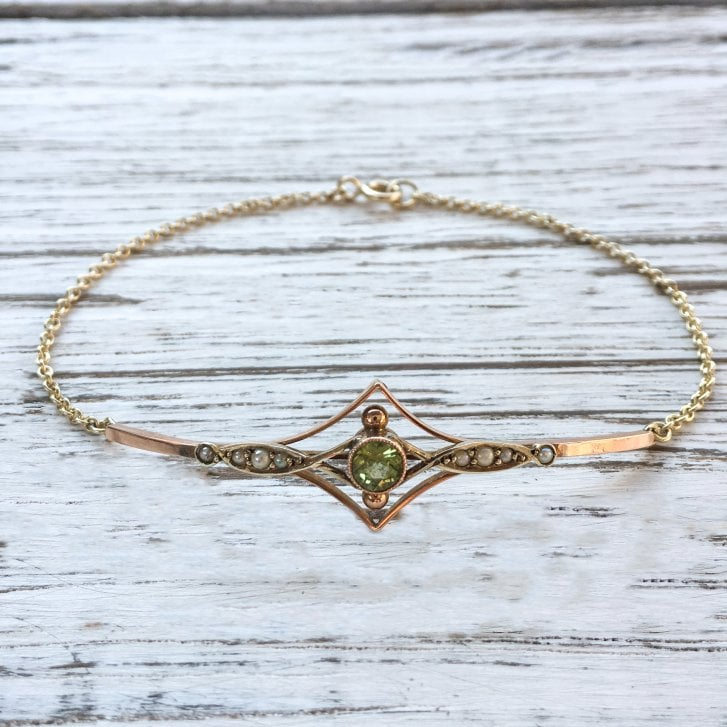 Lila's Edwardian Peridot and Pearl Conversion Bracelet