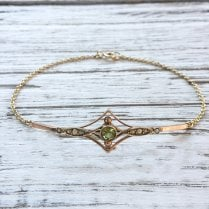 Edwardian Peridot and Pearl Conversion Bracelet