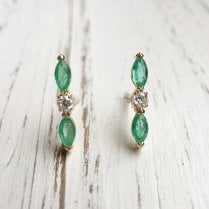 Lila's Emerald and Diamond Bow Stud Earrings