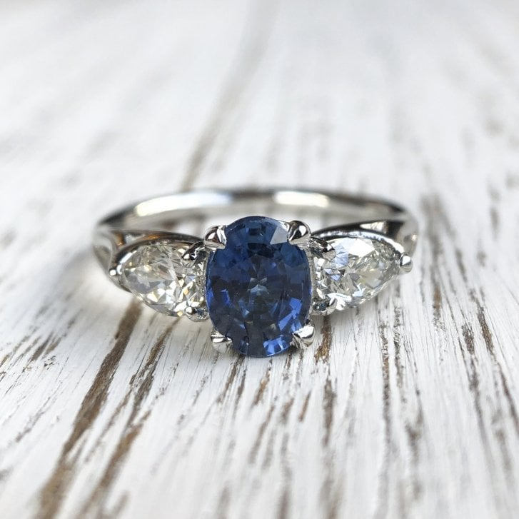 Lila's Ethical Sapphire and recycled Diamond Platinum Trilogy