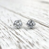 Lila's Fairtrade White Gold and Diamond Studs