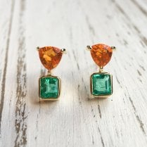 Fire Opal and Emerald Stud earrings in Fairtrade Gold