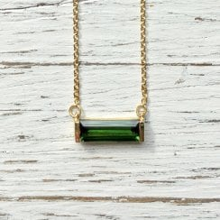 Green Tourmaline Baguette Necklace in Fairtrade Yellow Gold