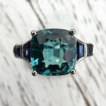 Greenish Blue Tourmaline and Sapphire Cocktail Ring