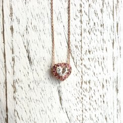 Heart Diamond with Pink Sapphire Halo Necklace