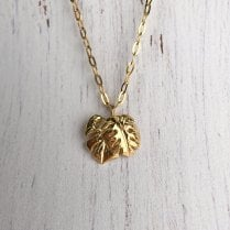 Leaf Pendant gold plated necklace
