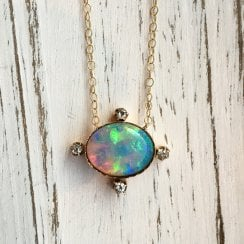 Oval Opal Pendant with Diamond Compass