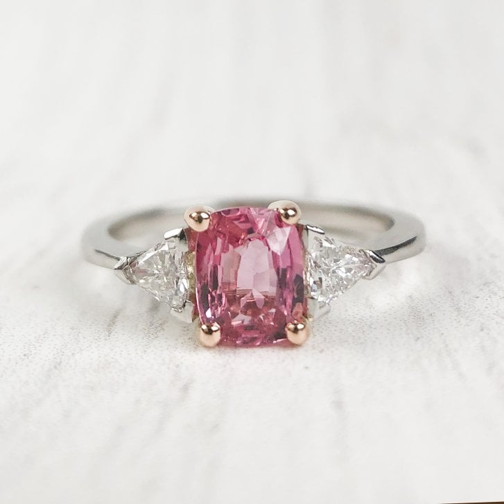 Lila's Padparadscha Sapphire and Diamonds Trilogy Ring