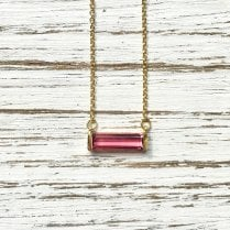 Pink Tourmaline Baguette Necklace