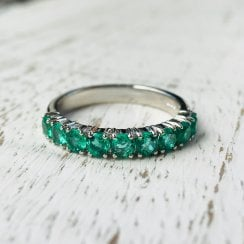 Platinum Emerald Half Eternity Ring