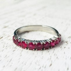 Platinum Ruby Half Eternity Ring