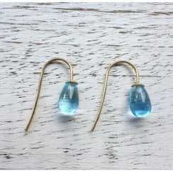 Sky BlueTopaz Drop earrings in Yellow Gold