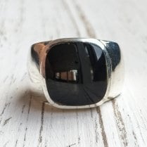 Vintage Onyx and Silver Unisex Signet Ring