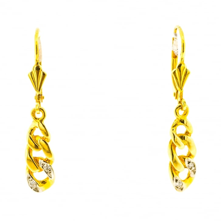 Link Chain Motif Diamond Drops Hoop Earrings