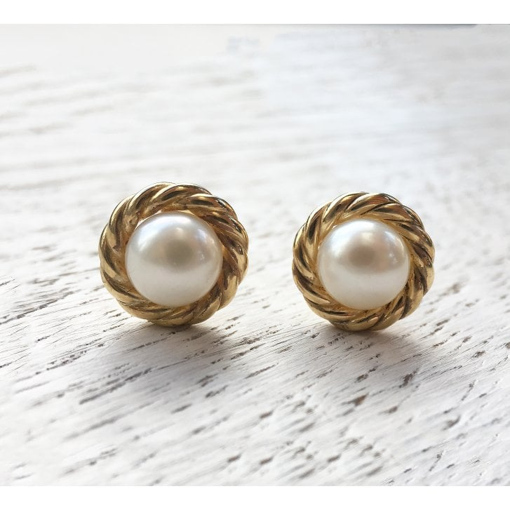Mabe Pearl earrings with Rope Bezel