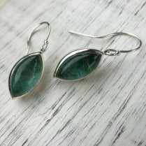 Malachite and Turquoise on Rutilated Quartz Marquise Earrings