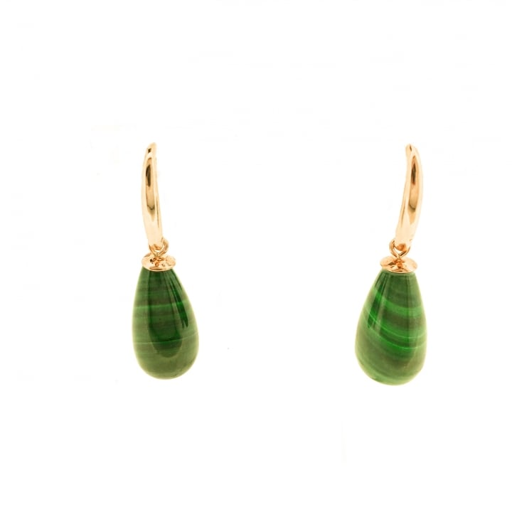 Malachite Drop earrings in 9ct Yellow Gold