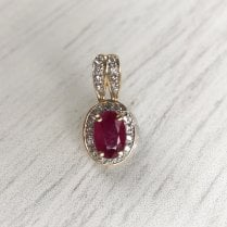 Man-made Ruby and Diamonds Pendant