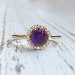 Amethyst and Diamond Halo Ring