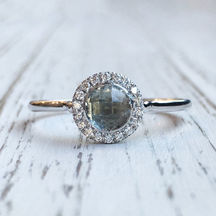 Marcel Salloum Aquamarine and Diamond Halo Ring