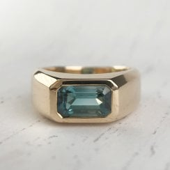 Blue-Green Tourmaline Signet Ring in Yellow Gold