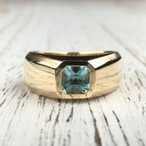 Blue Tourmaline Yellow Gold Signet Ring