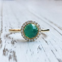 Green Chalcedony and Diamond Halo Ring