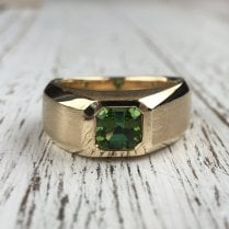 Green Tourmaline Yellow Gold Signet Ring