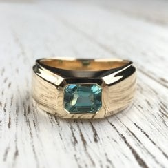 Light Blue Tourmaline Signet in Yellow Gold