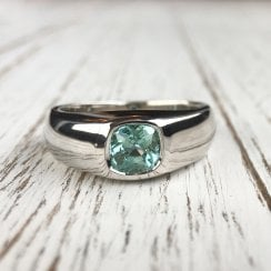 Light Blue tourmaline Signet Ring in White Gold
