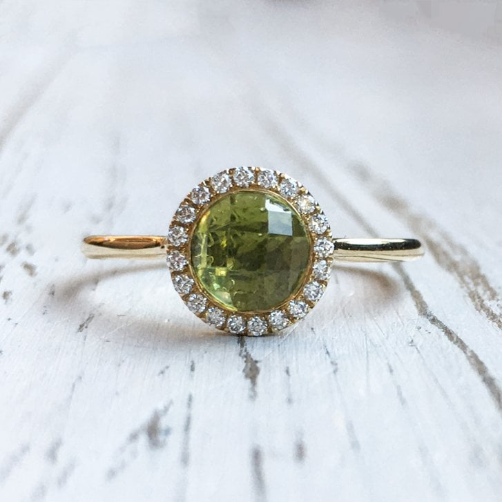Marcel Salloum Peridot and Diamond Halo Ring