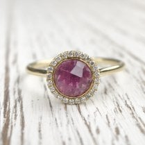 Marcel Salloum Pink Tourmaline and Diamond Halo Ring