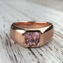 Pink tourmaline Signet Ring in Rose Gold