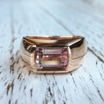 Pink Tourmaline Signet Ring