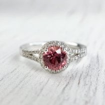 Red Sapphire and Diamond Halo Ring