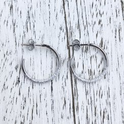 Marcel Salloum White Gold Textured Hoops
