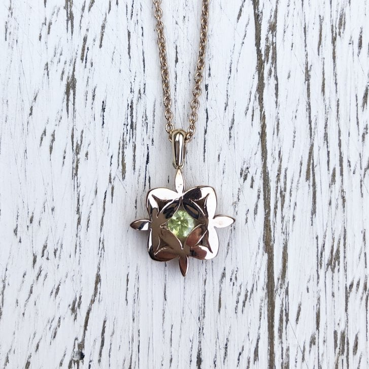 Marcel Salloum Yasmin Necklace in Rose Gold with Peridot