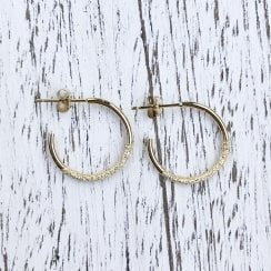 Marcel Salloum Yellow Gold Textured Hoops