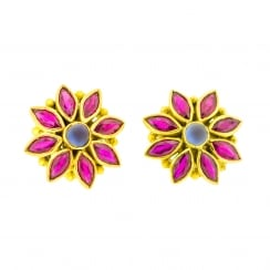 Marquise Ruby and Cabochon Sapphire Flower Studs
